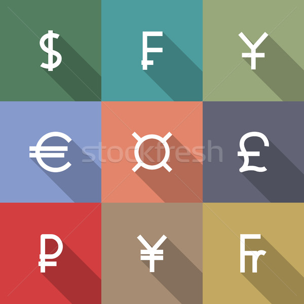 Icons currency symbols, vector illustration. Stock photo © kup1984