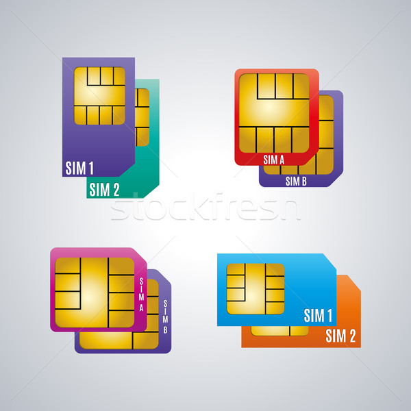 Icons dual sim card, vector illustration. Stock photo © kup1984