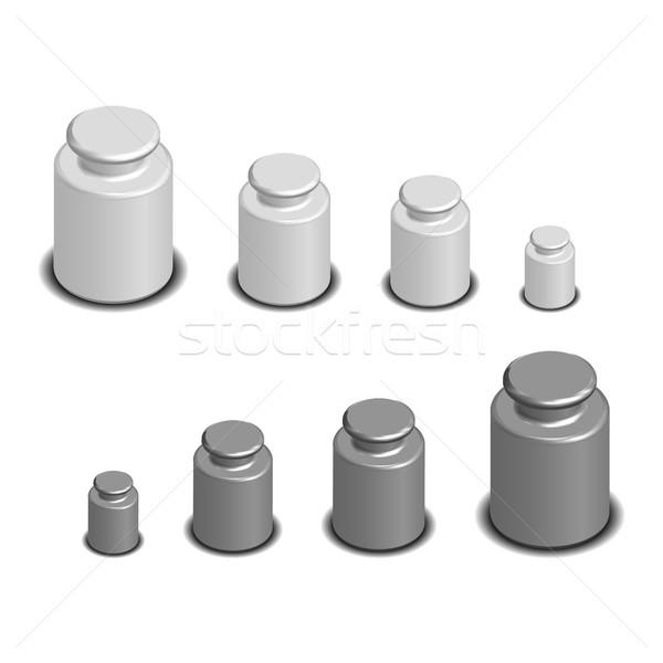 Súly mérleg izometrikus szett súlyok különböző Stock fotó © kup1984