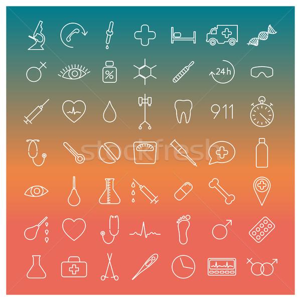 Medical icons, vector illustration. Stock photo © kup1984