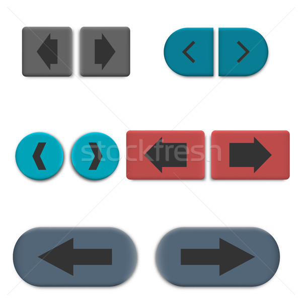 Stylish multicolored web buttons with 3D effect, vector illustration Stock photo © kup1984