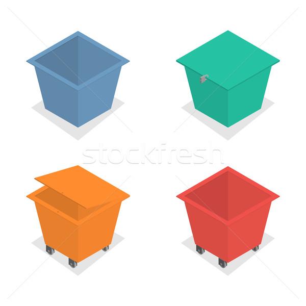 Metaal container vuilnis isometrische ingesteld verschillend Stockfoto © kup1984