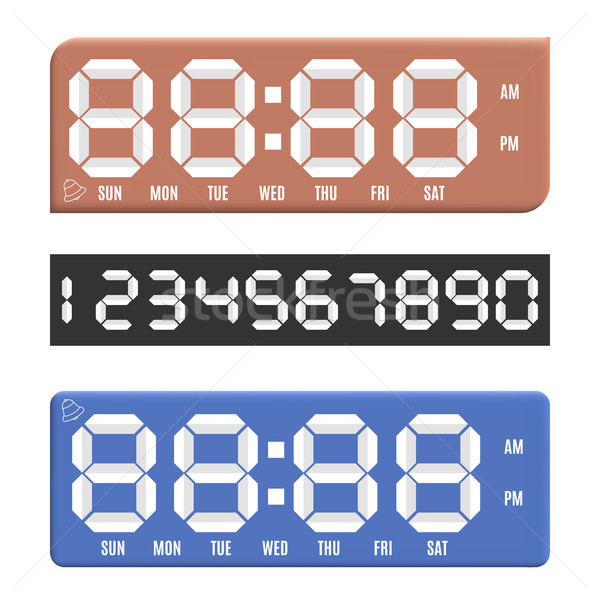 Paper numbers with digital clock display, vector illustration. Stock photo © kup1984