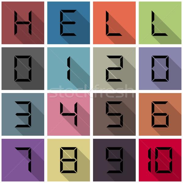 アイコン 番号 デジタル 長い 対角線 影 ストックフォト © kup1984