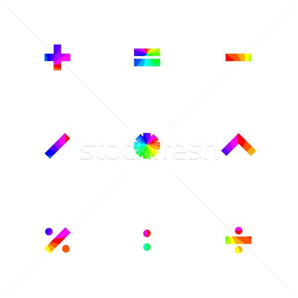 Arco-íris símbolos matemático praça projeto Foto stock © kup1984