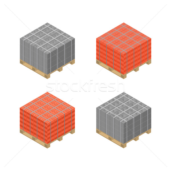 Isometric wooden pallet with cinder blocks and bricks, vector illustration. Stock photo © kup1984
