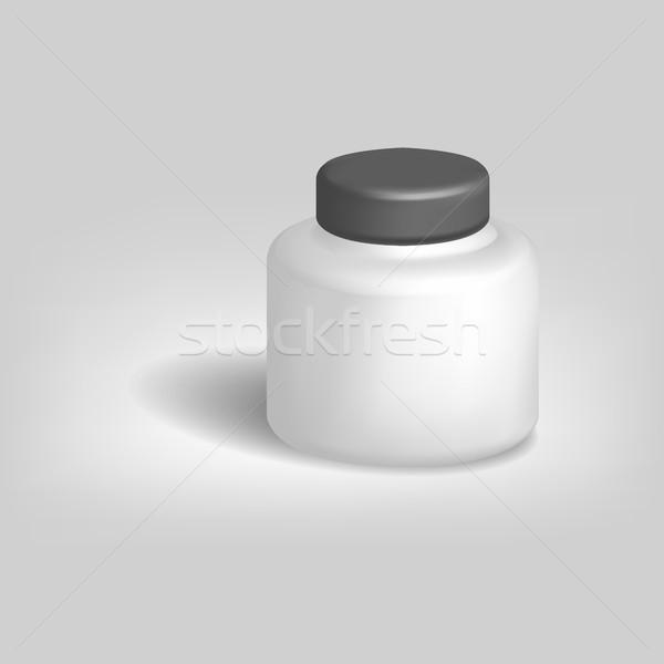 White empty jar with black lid, vector illustration. Stock photo © kup1984