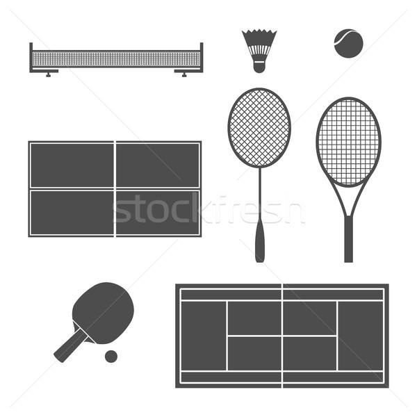 оборудование теннис набор белый серый бадминтон Сток-фото © kup1984