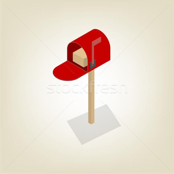 Amerikaanse mailbox isometrische gekleurd geïsoleerd witte Stockfoto © kup1984