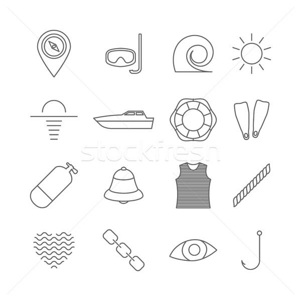 Set of nautical icons, vector illustration. Stock photo © kup1984