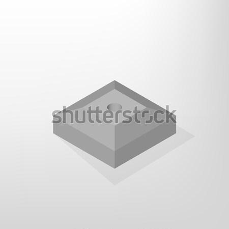 железной конкретные стоять изометрический дорожный знак изолированный Сток-фото © kup1984