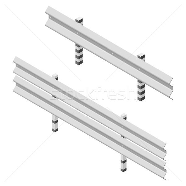 Metal road fence isometric, vector illustration. Stock photo © kup1984