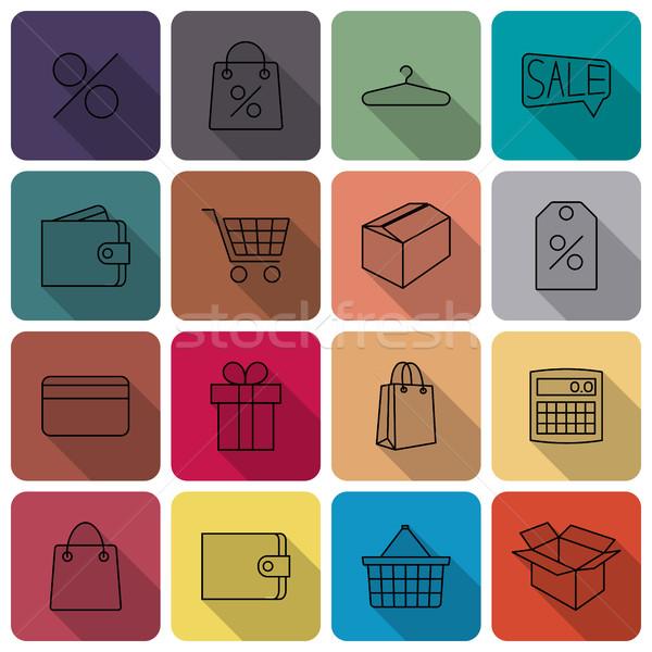 ícones comprar conjunto ícone fino Foto stock © kup1984