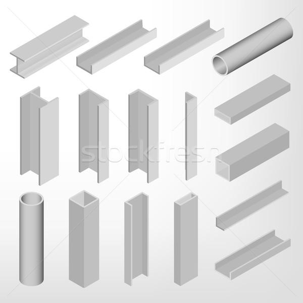 Aço viga isométrica isolado branco projeto Foto stock © kup1984