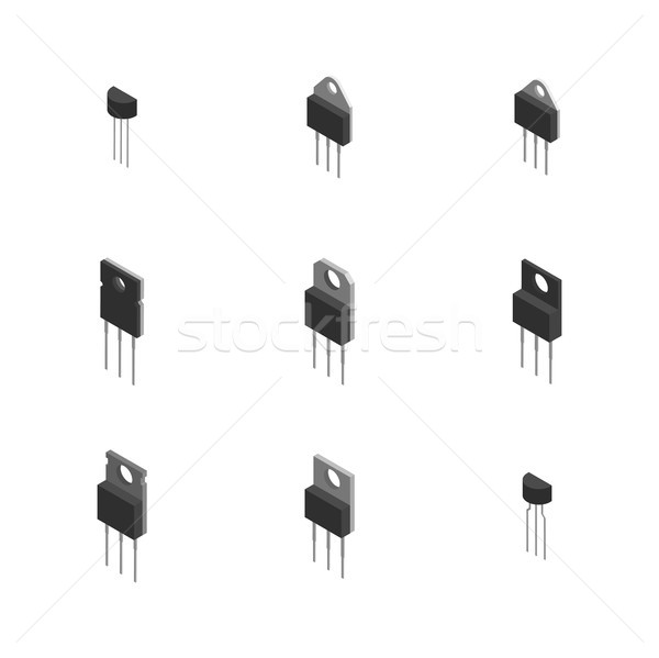 Set of different 3D electronic components , vector illustration. Stock photo © kup1984
