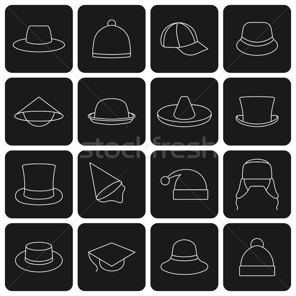 Icons hats, vector illustration. Stock photo © kup1984
