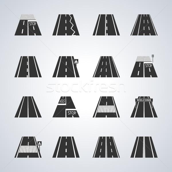 Zdjęcia stock: Ikona · drogowego · znaki · drogowe · podpisania · wyścigu · ścieżka