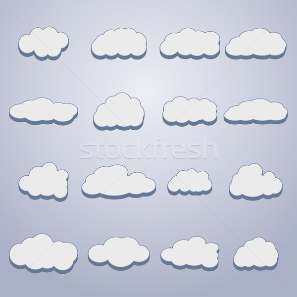 Set of clouds, vector illustration. Stock photo © kup1984