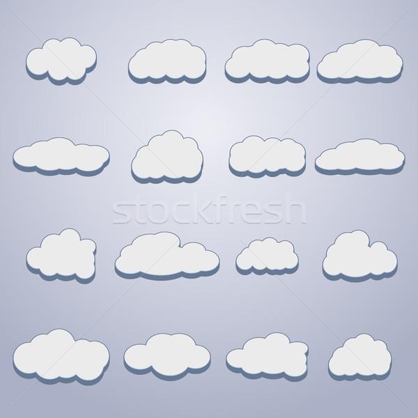 Conjunto nuvens dezesseis branco diferente formas Foto stock © kup1984