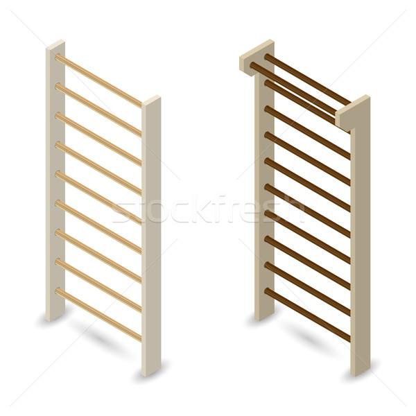 Fal 3D fából készült izolált fehér terv Stock fotó © kup1984