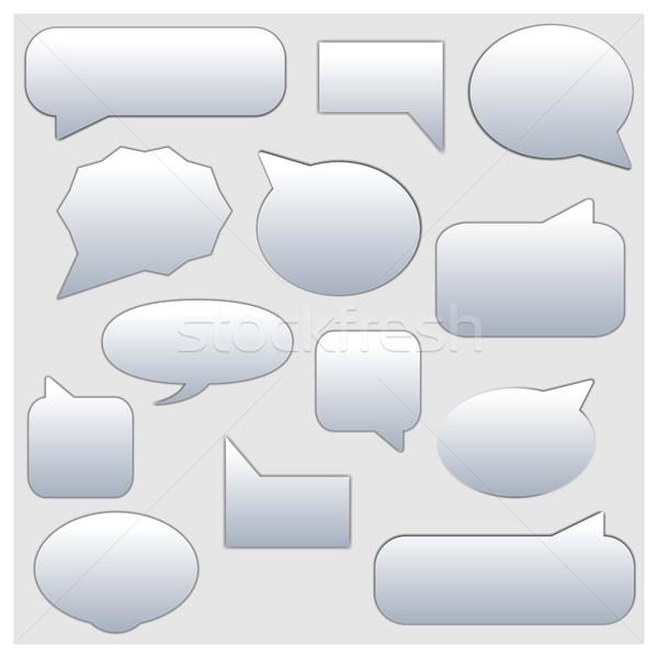 Foto stock: Establecer · marco · chat · comentarios · blanco · marcos