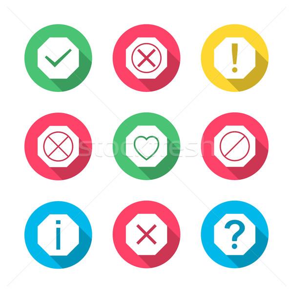 Stockfoto: Ingesteld · iconen · borden · symbolen · helpen · informatie