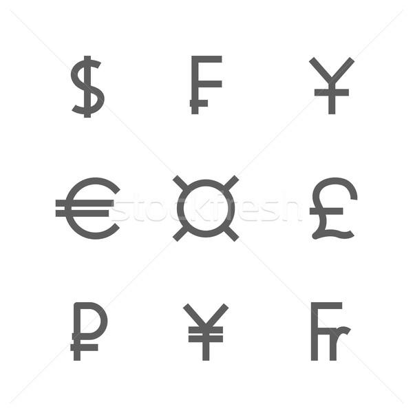 Set symbols of world currencies, vector illustration. Stock photo © kup1984