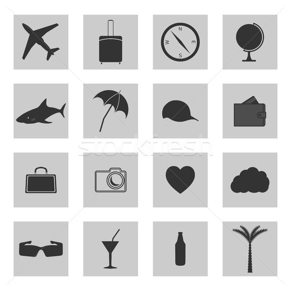 Conjunto ícones viajar praia carro globo Foto stock © kup1984