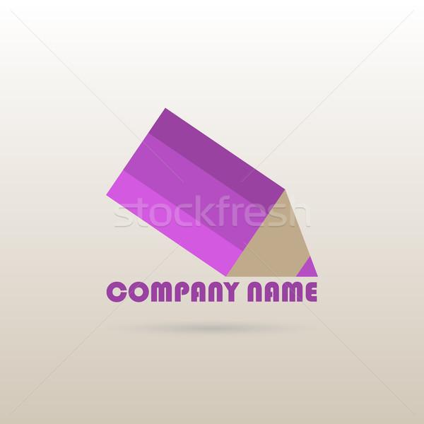 Logo tasarımı şablon mor kalem iş ikon Stok fotoğraf © kup1984