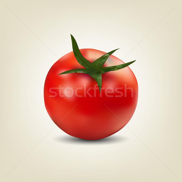 Photo realistic red tomato, vector illustration Stock photo © kup1984