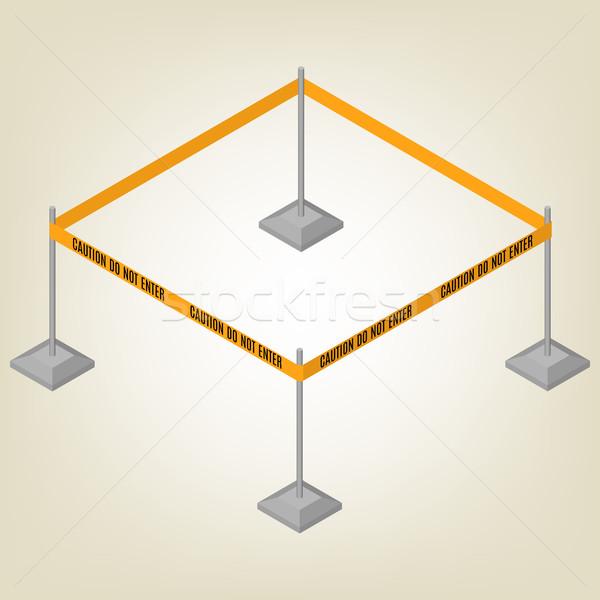 предупреждение лента ограждение изометрический текста изолированный Сток-фото © kup1984