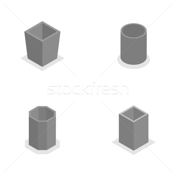 Urn for garbage in isometric, vector illustration. Stock photo © kup1984