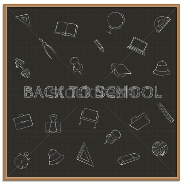 Volver a la escuela establecer escuela tiza pizarra ordenador Foto stock © kup1984