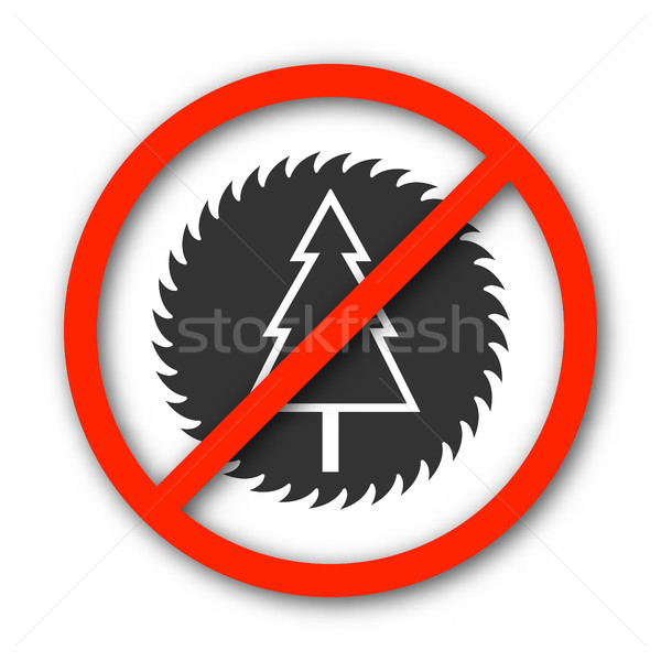 Sign prohibition deforestation, vector illustration. Stock photo © kup1984