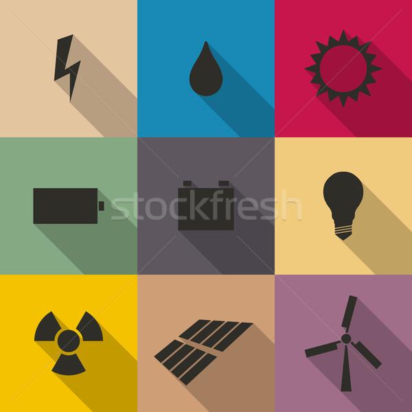 Icons energy vector illustration. Stock photo © kup1984