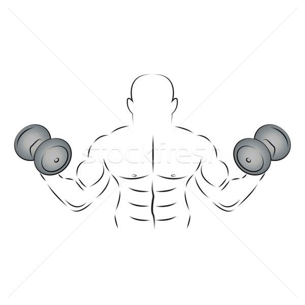Athlete with two dumbbells, vector illustration. Stock photo © kup1984