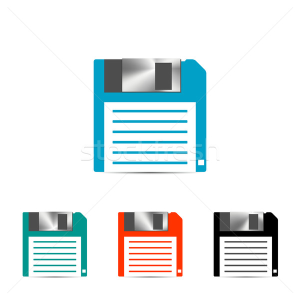 Set of colored floppy icon, vector illustration. Stock photo © kup1984