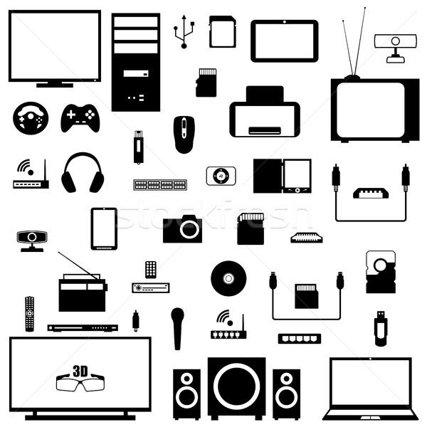 セット デジタル 黒 シルエット 白 ストックフォト © kup1984