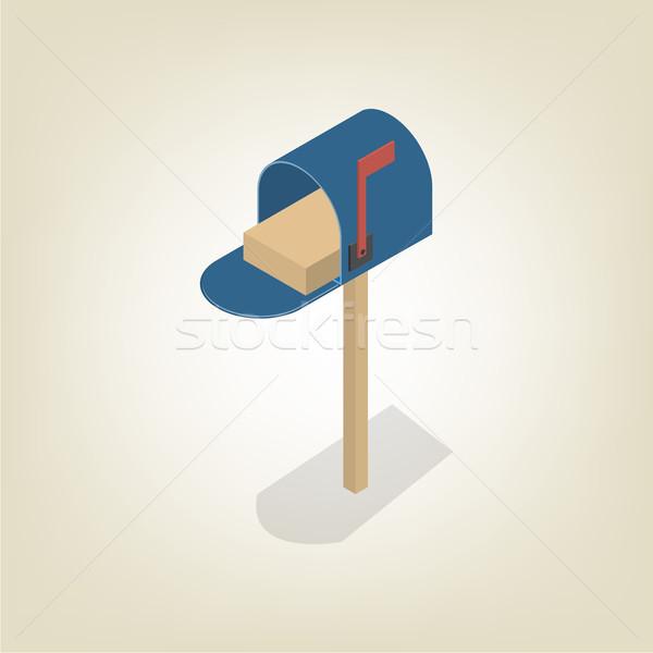 Сток-фото: американский · почтовый · ящик · изометрический · изолированный · белый