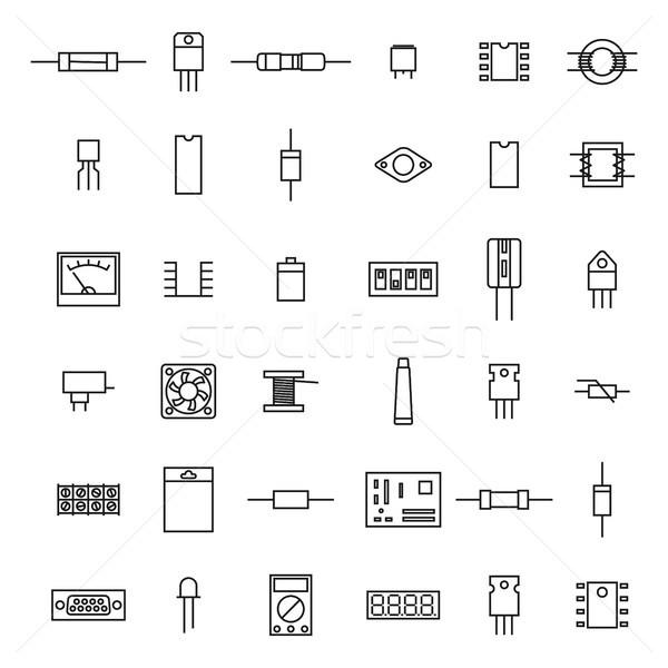Eletrônico rádio componentes fino linha conjunto Foto stock © kup1984