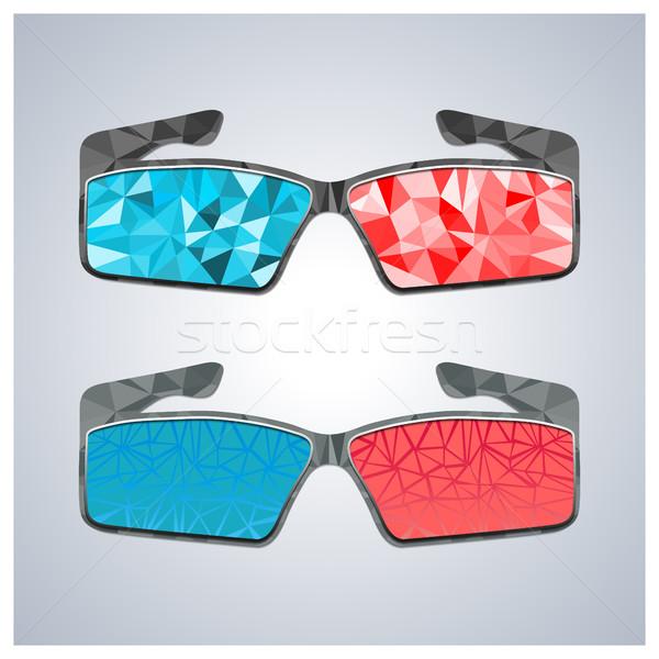 многоугольник 3d очки два компьютер фильма Сток-фото © kup1984