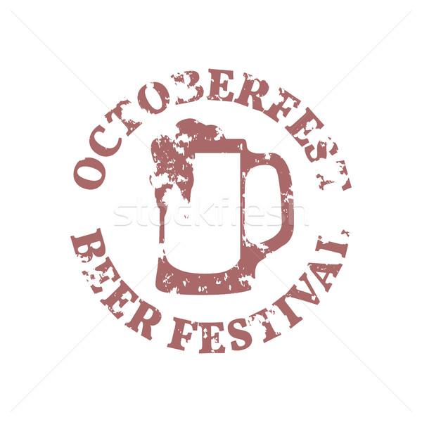 Гранж эмблема Октоберфест пива фестиваля знак Сток-фото © kup1984