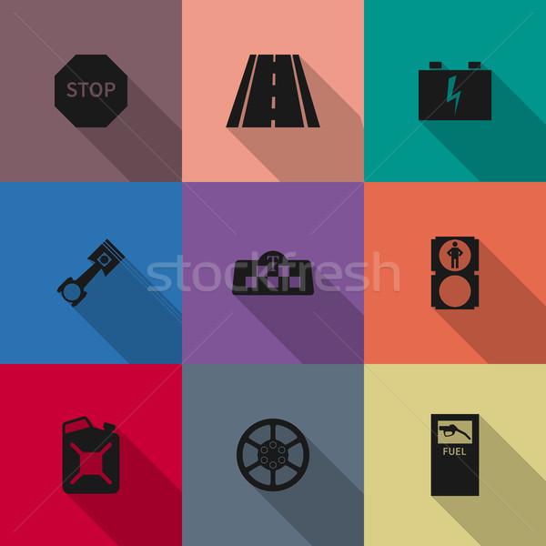 Auto icons, vector illustration. Stock photo © kup1984