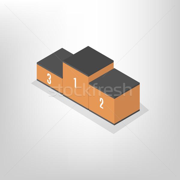 Pedestal for rewarding an isometric, vector illustration. Stock photo © kup1984