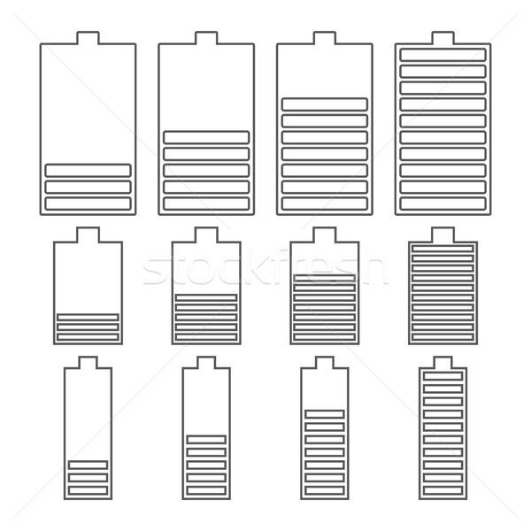 набор линейный батареи иконки Сток-фото © kup1984