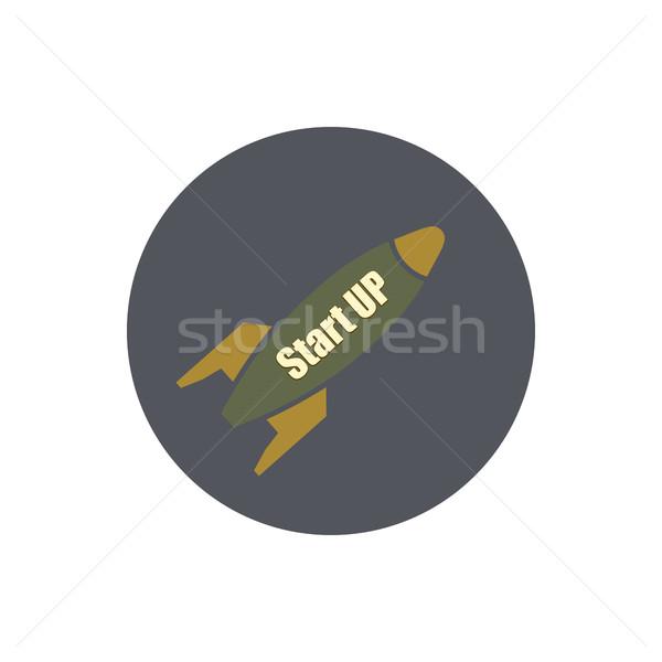 Elegáns ikon rakéta vektor kezdet felfelé Stock fotó © kup1984