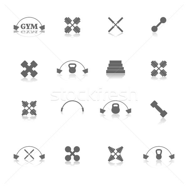 Equipamentos esportivos ícones ginásio espelho reflexão corpo Foto stock © kup1984