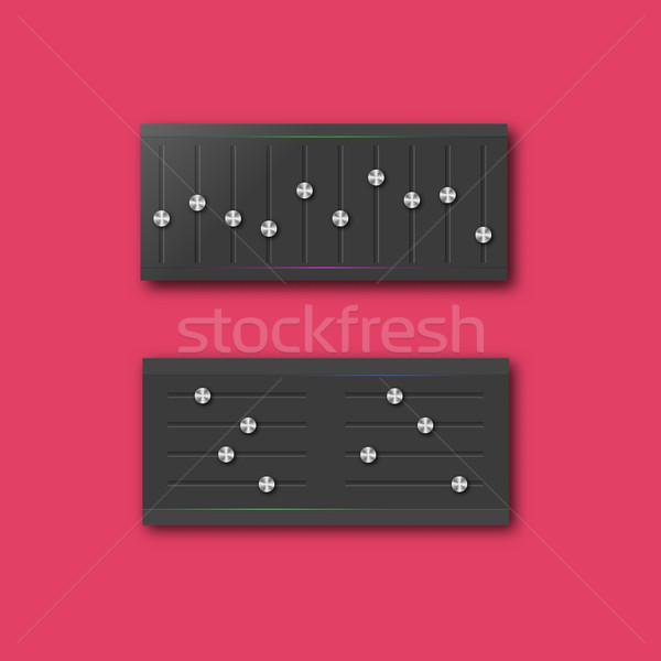 Gráfico ecualizador establecer elegante acero botones Foto stock © kup1984