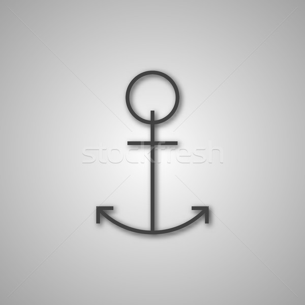 Grigio ancora icona ombra isolato bianco Foto d'archivio © kup1984