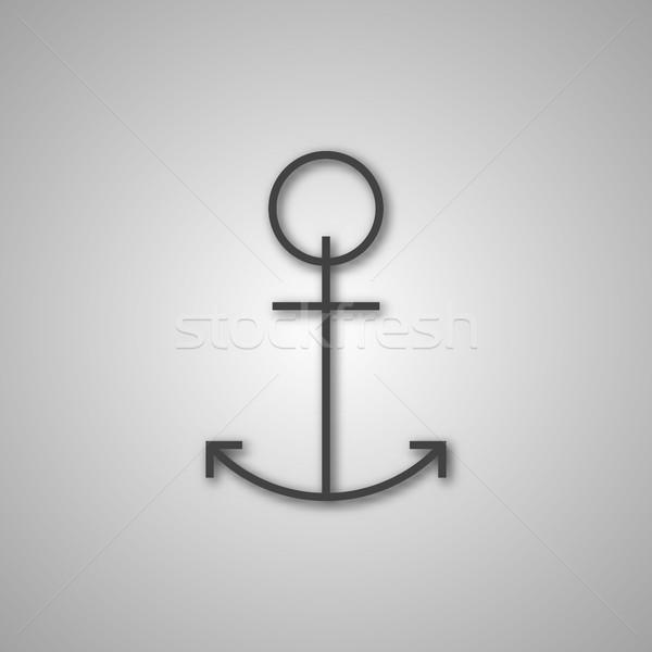 Cinza âncora ícone sombra isolado branco Foto stock © kup1984
